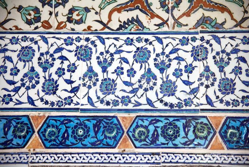 古老手工制造土耳其瓦片, Topkapi宫殿 免版税图库摄影