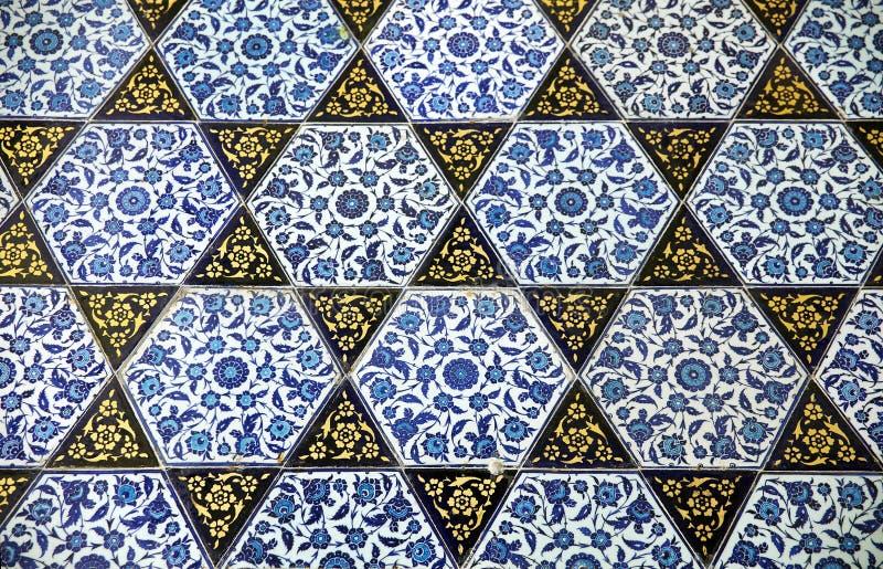 古老手工制造土耳其瓦片, Topkapi宫殿 库存照片