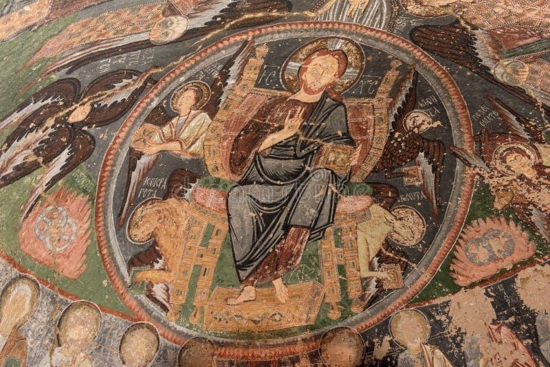 古老拜占庭式的壁画卡帕多细亚 图库摄影