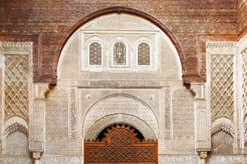 古老摩洛哥大厦在菲斯,摩洛哥 库存图片