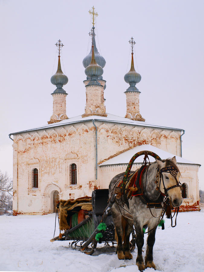 古老教会似马的正统俄国 免版税图库摄影