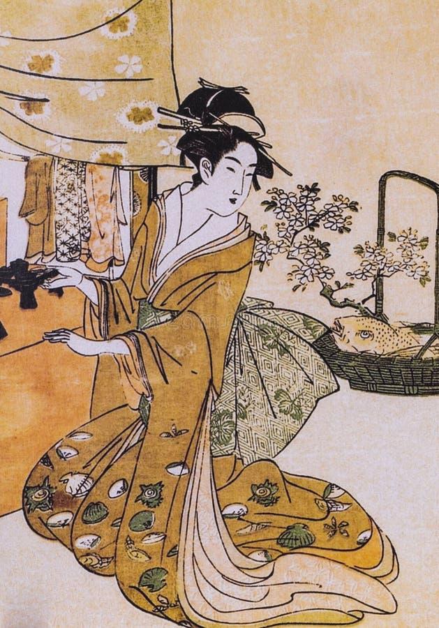 日本女人和服后面_古老日本传统礼服 库存图片. 图片 包括有 艺妓, 绘画, beautifuler ...