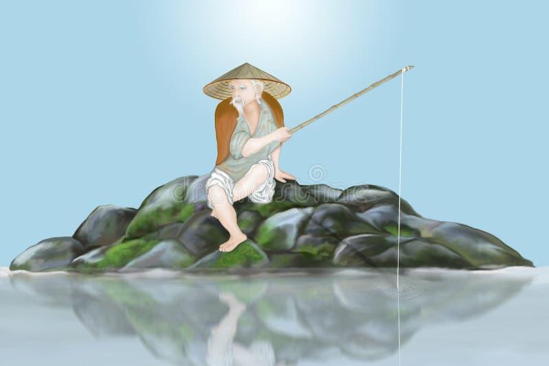 古老日本渔夫 向量例证