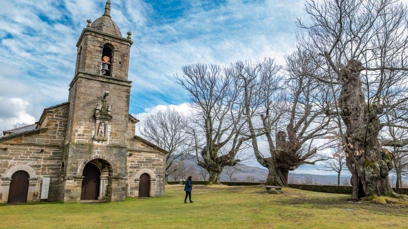 古老栗树和老教堂有1个游人的 库存照片