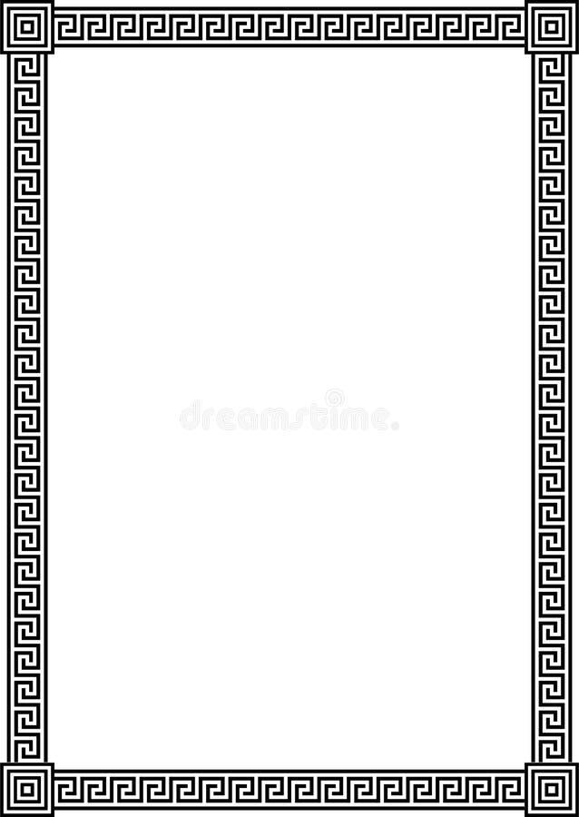 古老框架希腊河曲模式 库存例证