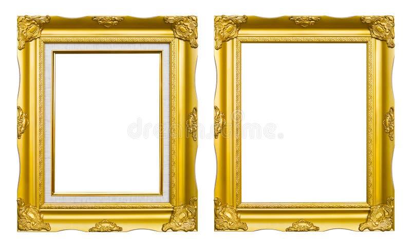 古老框架金黄图象照片样式 库存照片