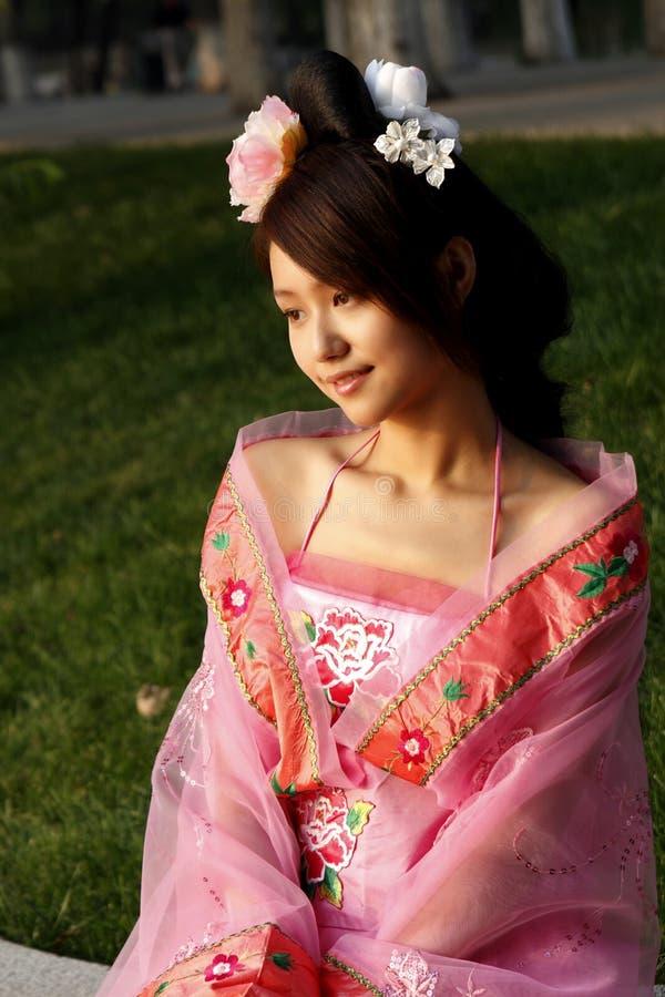 古老汉语打扮女孩 库存图片