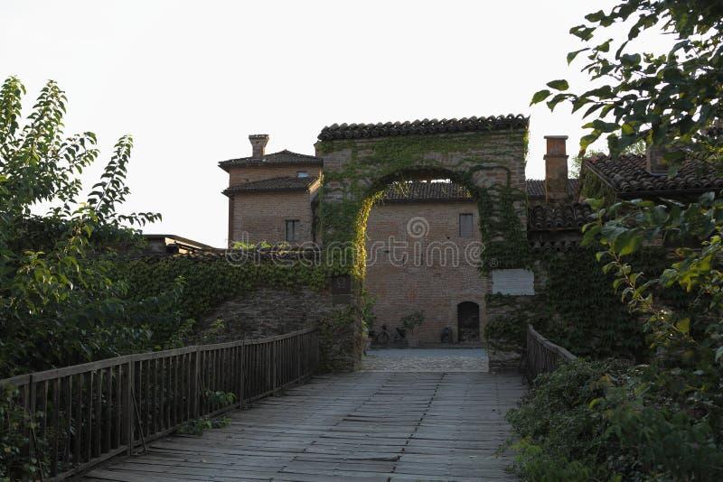 古老法院Pallavicina -帕尔马-伊米莉亚罗马甘-意大利 库存图片