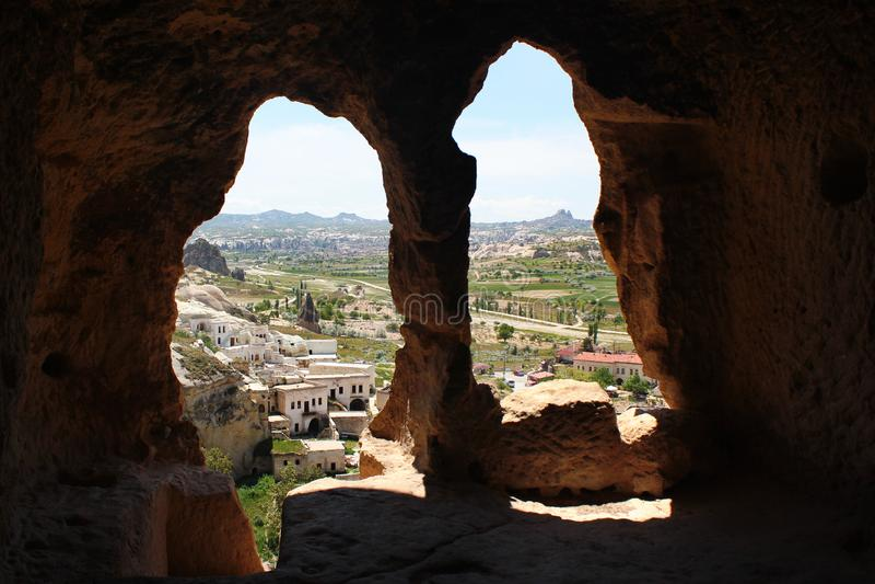 古老洞市Cavusin在卡帕多细亚,土耳其 库存图片