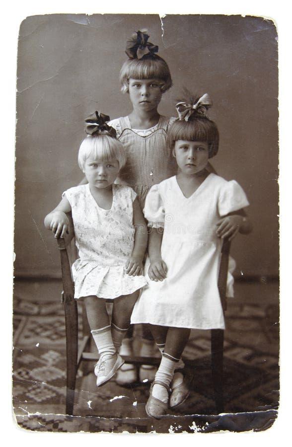 古老照片姐妹 免版税库存照片