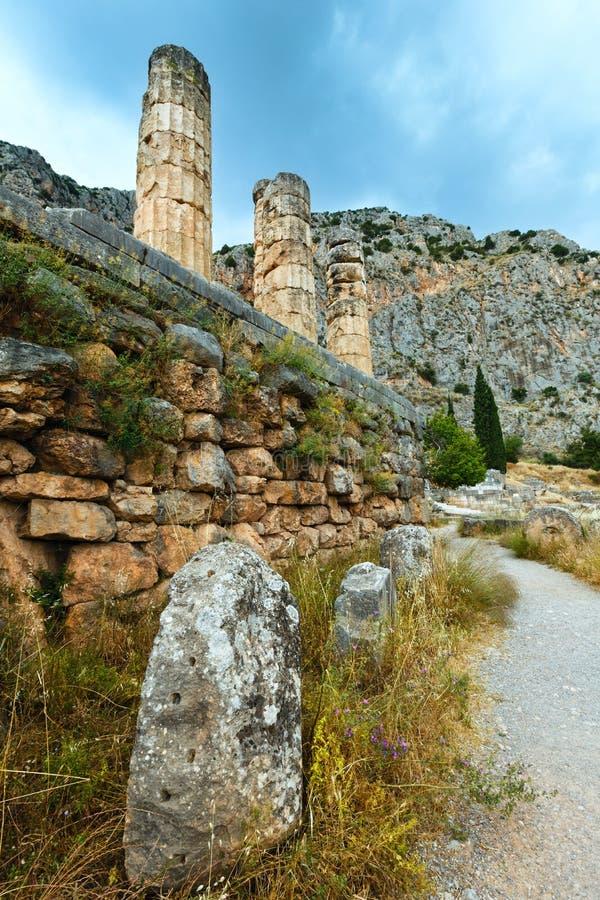 古老特尔斐市(希腊)的挖掘 免版税库存图片