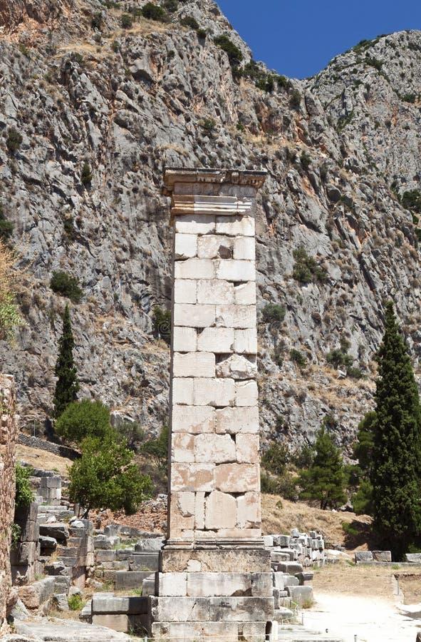 古老特尔斐被找到的希腊石碑 库存图片