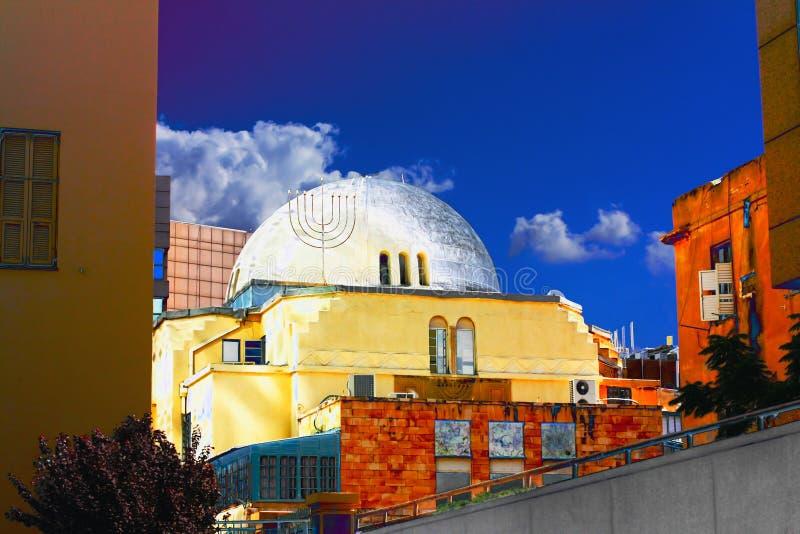 古老犹太教堂在特拉唯夫的重点 库存照片