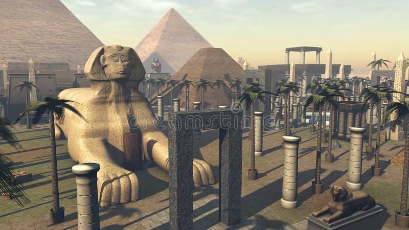古老狮身人面象和建筑学在市埃及 3d翻译 向量例证