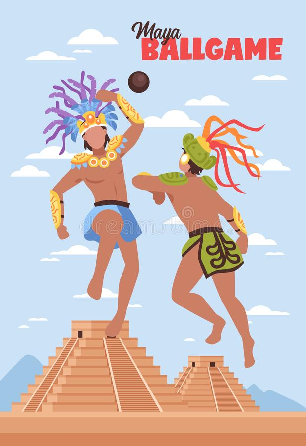 古老玛雅人体育背景 皇族释放例证