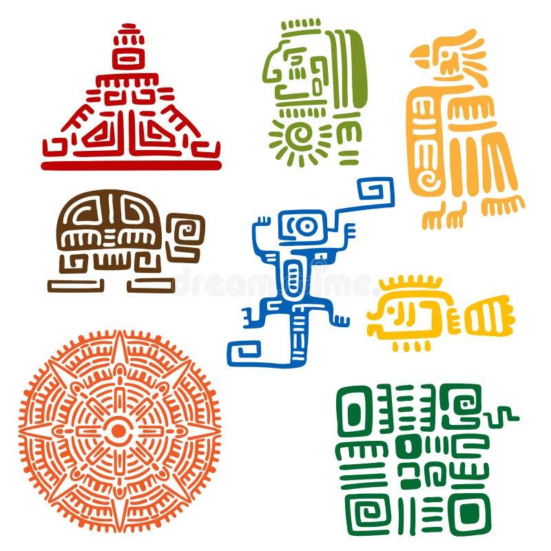 古老玛雅和阿兹台克图腾或标志 向量例证