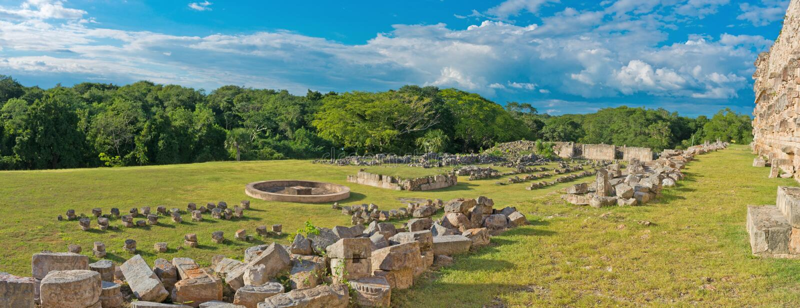 古老玛雅城市, Kabah的废墟 墨西哥 免版税库存图片