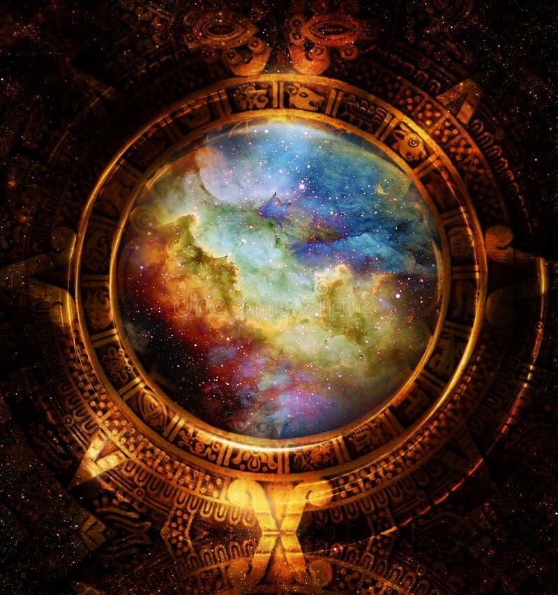 古老玛雅日历、宇宙空间和星,抽象颜色背景,计算机拼贴画 库存例证