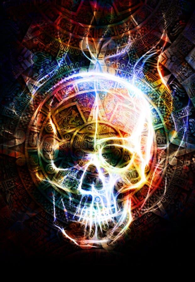 古老玛雅日历和头骨,头骨wirt射击效果 抽象背景颜色 库存例证