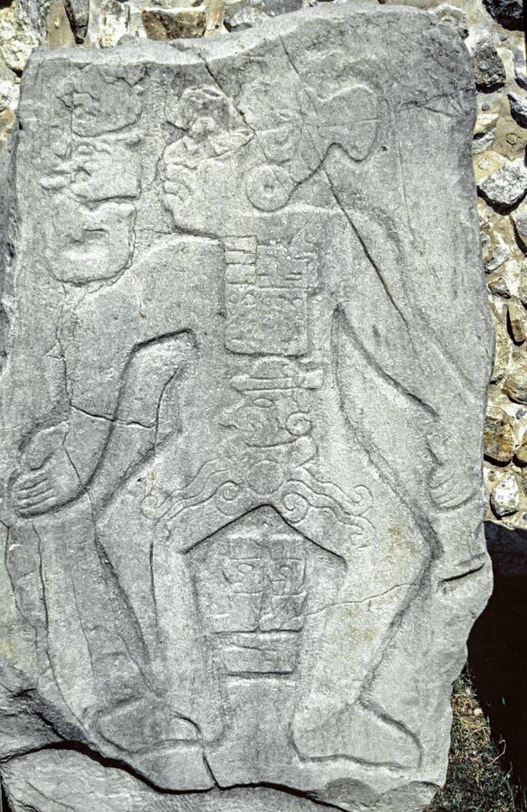古老玛雅石安心 库存照片