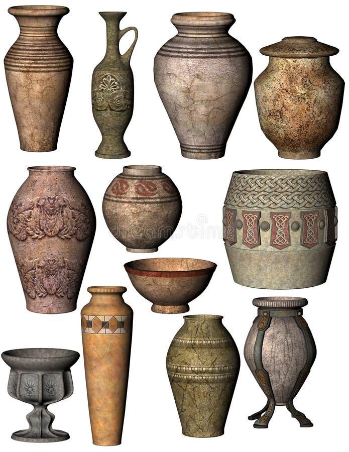 古老瓦器拼贴画包括碗、缸和花瓶 库存例证