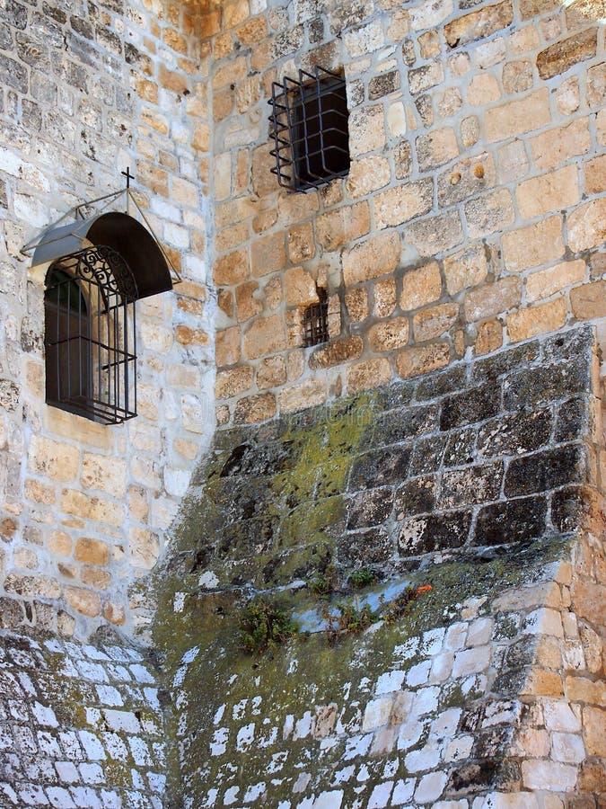 古老石制品,诞生的教会,伯利恒 免版税库存照片