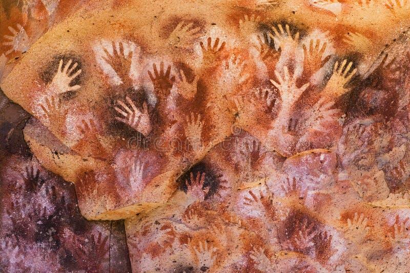 古老石洞壁画巴塔哥尼亚 免版税库存照片