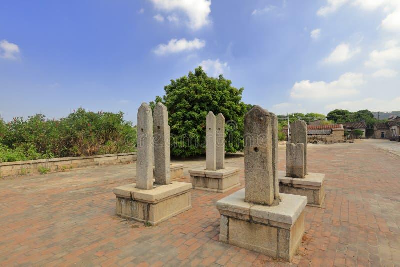 古老石片剂在zhaojiabao村庄,多孔黏土rgb 库存图片