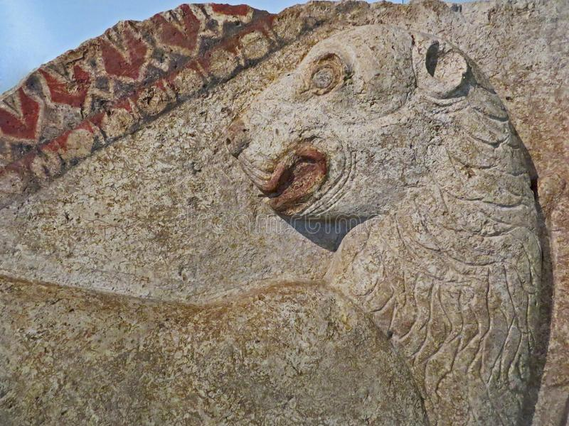 古老石狮子安心雕刻 Thracian时间 建造者 免版税库存照片
