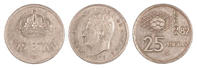 古老硬币比塞塔西班牙 库存照片