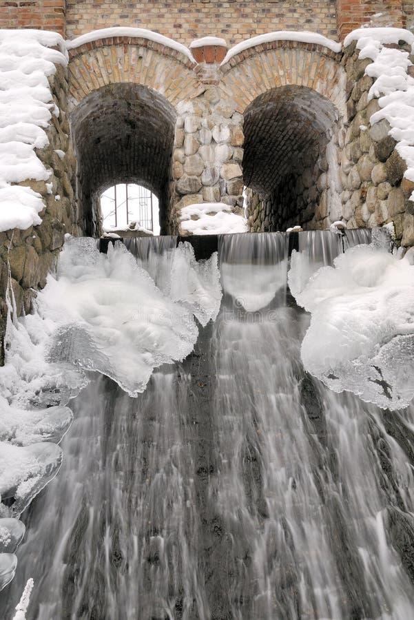 古老磨房水冬天 免版税库存图片