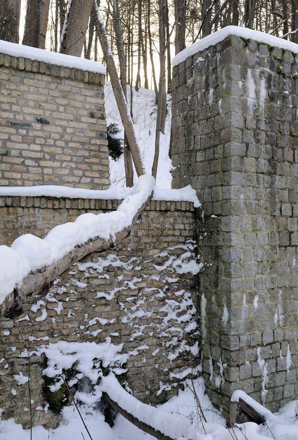 古老磨房水冬天 库存图片