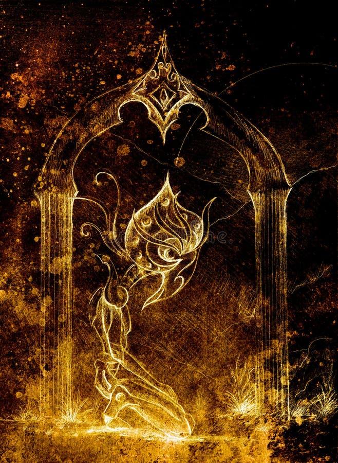 古老神horus,原图 瞬间和时间概念 乌贼属颜色 库存例证