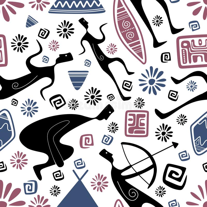 古老种族画的阿兹台克玛雅人样式 向量例证