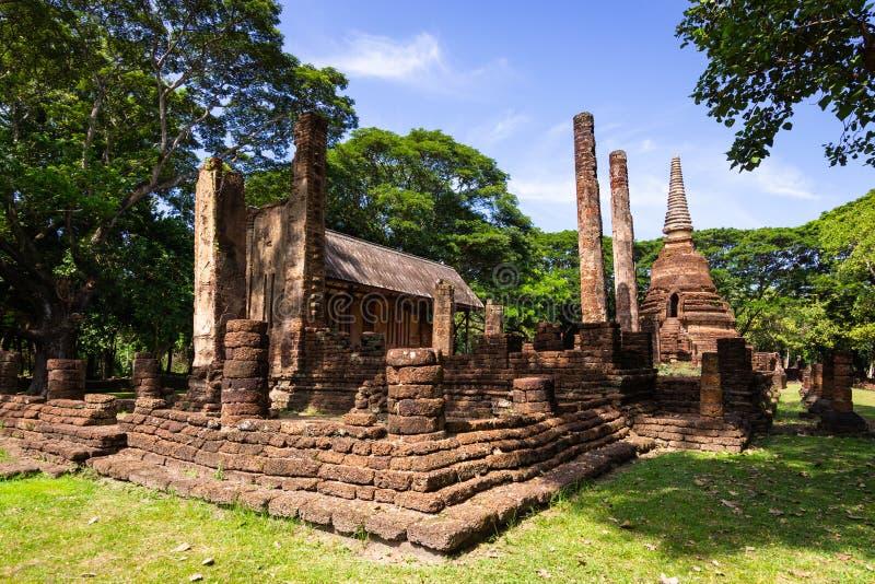 古老纪念碑在Wat Nang Phaya,Si Satchanalai历史P 免版税图库摄影