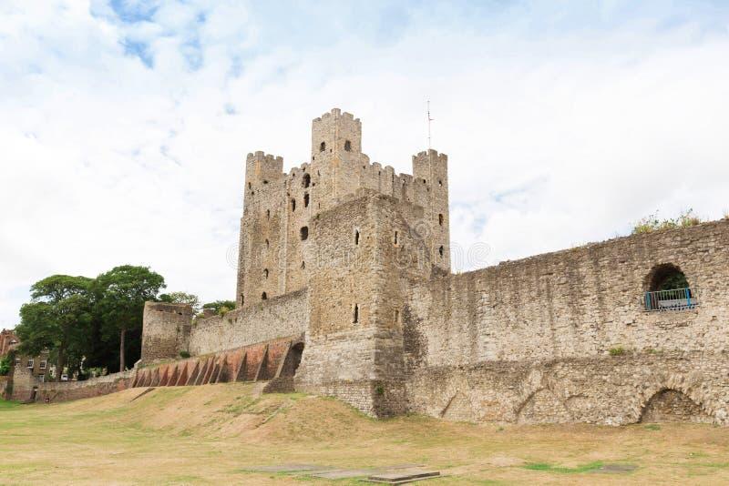 古老罗切斯特城堡在肯特英国英国 免版税图库摄影