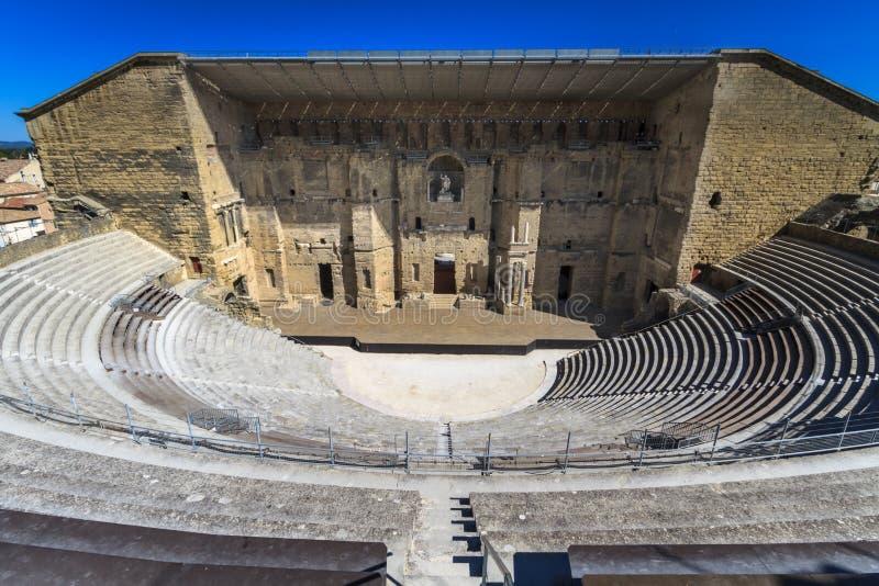 古老罗马剧院在橙色,南法国 免版税图库摄影