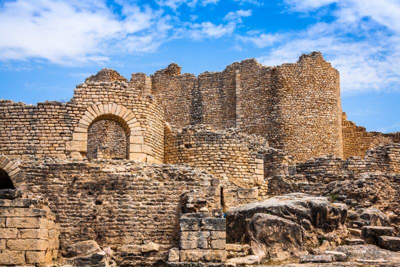古老罗马城市在突尼斯,杜加 库存照片