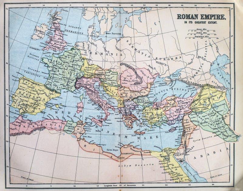 古老罗马帝国的地图 库存图片