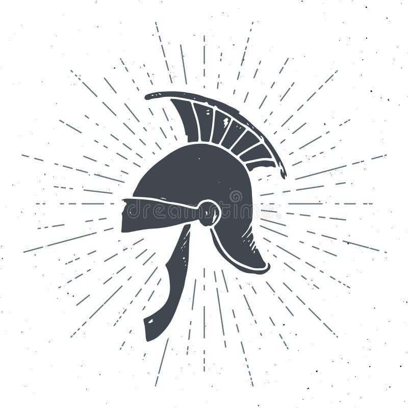 古老罗马盔甲葡萄酒标签,手拉的剪影,难看的东西构造了减速火箭的徽章,印刷术设计T恤杉印刷品,传染媒介illust 向量例证
