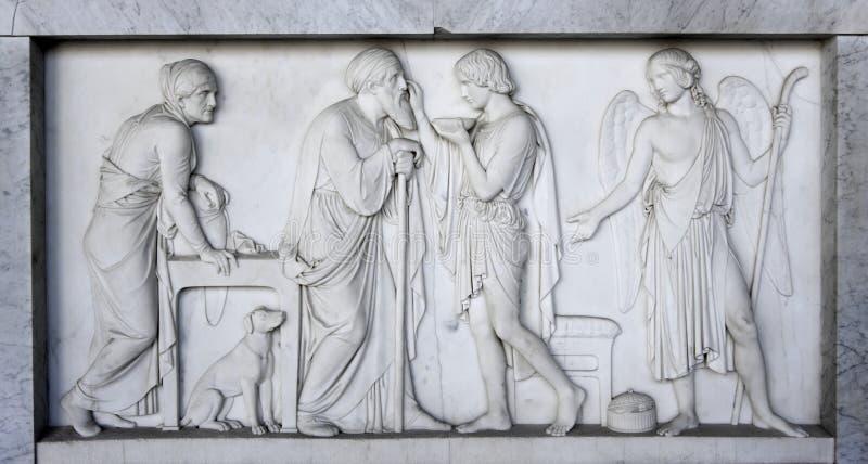古老罗马石棺 免版税库存图片
