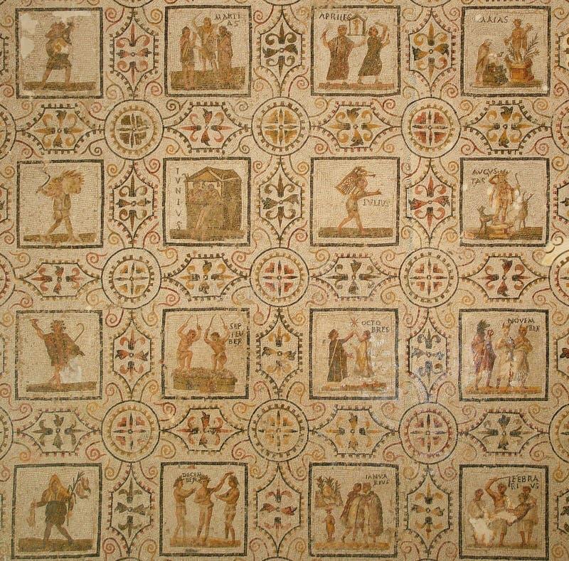 古老罗马马赛克。 日历 库存图片