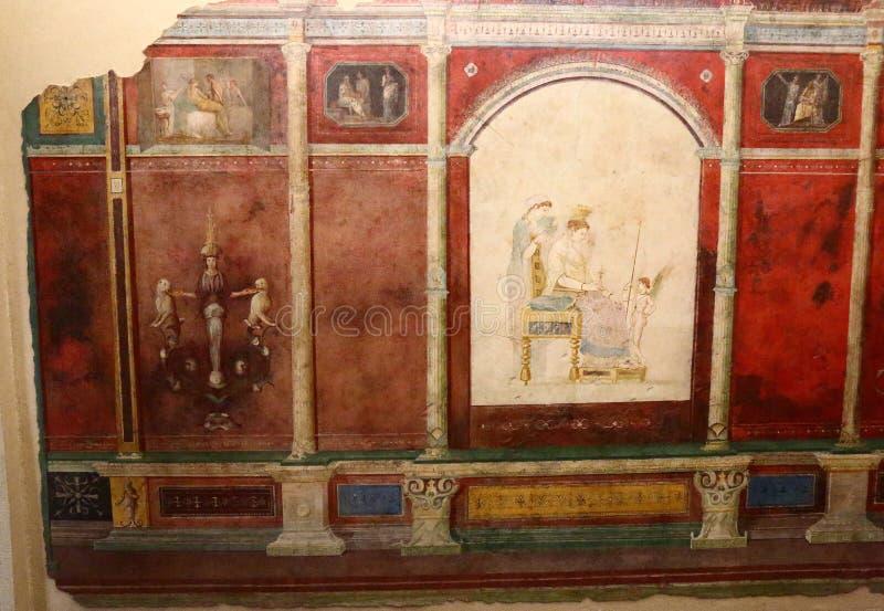 古老罗马马赛克在全国罗马博物馆,罗马,意大利 库存例证