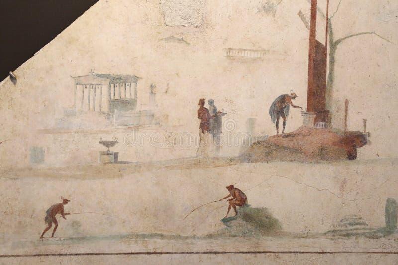 古老罗马马赛克在全国罗马博物馆,罗马,意大利 图库摄影