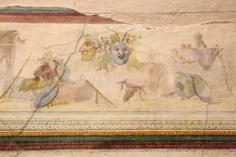 古老罗马马赛克在全国罗马博物馆,罗马,意大利 免版税库存照片