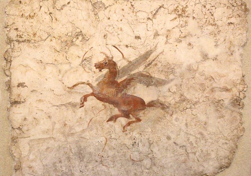 古老罗马马赛克在全国罗马博物馆,罗马,意大利 免版税库存图片