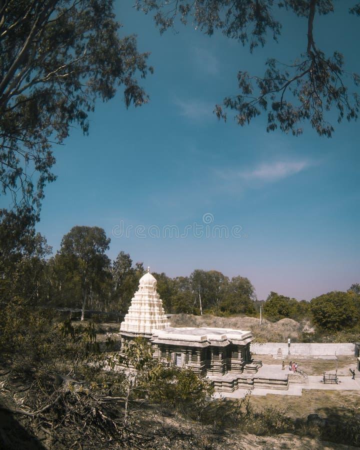 古老美丽的石雕刻的寺庙在印度 免版税库存照片