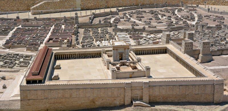 古老耶路撒冷-以色列的第二个寺庙模型 库存照片