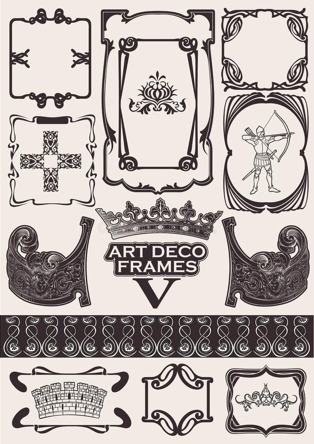 古老艺术装饰框架被设置的样式 皇族释放例证