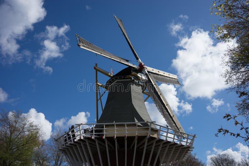 古老荷兰风车有蓝天背景在利瑟, Neth 免版税库存图片